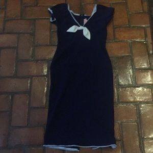 Pinup couture Natalie Sailor dress- navy and white